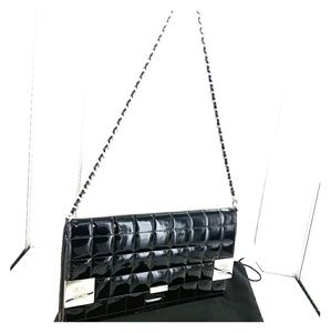Chanel Chocolate Bar Quilted Clutch w Chain Strap